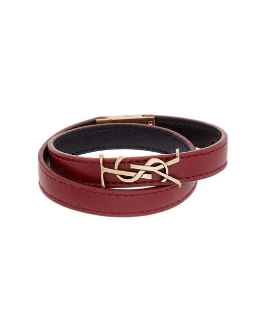 Saint Laurent | Red Monogram Leather Wrap Bracelet | Lyst