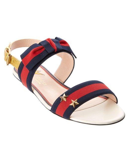 Gucci | Multicolor Grosgrain Web Sandal | Lyst
