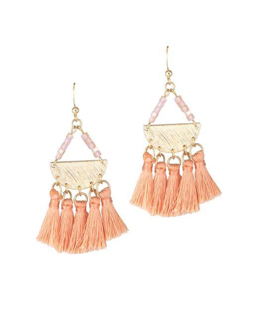 Gottex | Metallic Plated Tassel Boho Peach Drop Earrings | Lyst