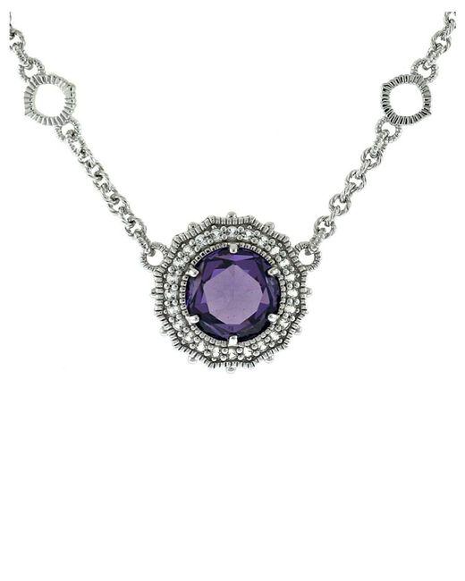 Judith Ripka | Metallic Luna Silver 7.36 Ct. Tw. Purple Gemstone & White Sapphire Necklace | Lyst