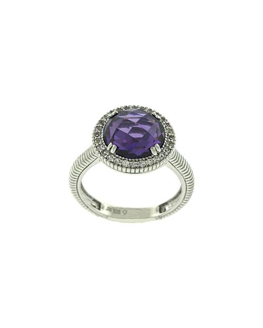 Judith Ripka | Metallic Legacy Silver 8.78 Ct. Tw. Purple Crystal & White Sapphire Ring | Lyst