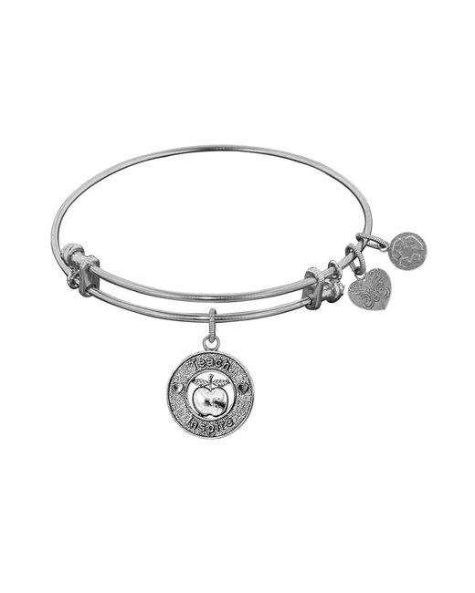 Angelica - White Stipple Finish Brass Apple, Teach, Inspire Bangle Bracelet, 7.25 - Lyst