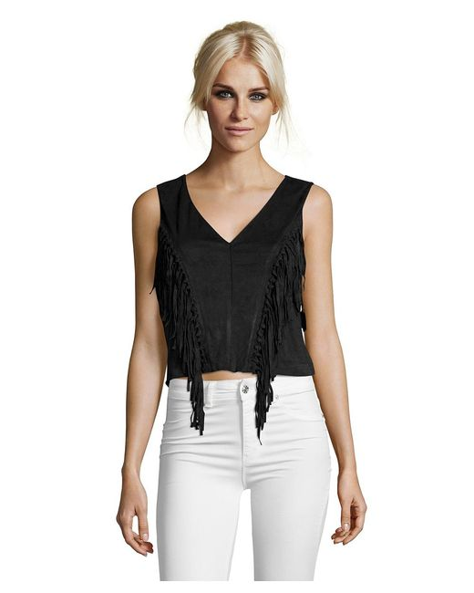 Romeo and Juliet Couture - Black Suede V-neck Fringe Top - Lyst