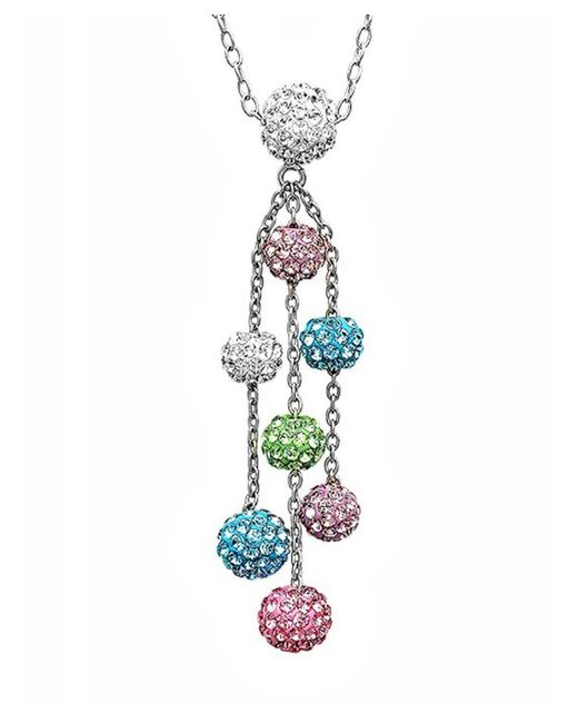 Amanda Rose Collection - Metallic Sterling Silver Multi Colored Crystal Ball Necklace Made With Swarovski Elements - Lyst