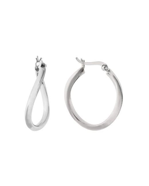 JewelryAffairs - White Sterling Silver Rhodium Plated Wavy Oval Hoop Earrings, Diameter 25mm - Lyst