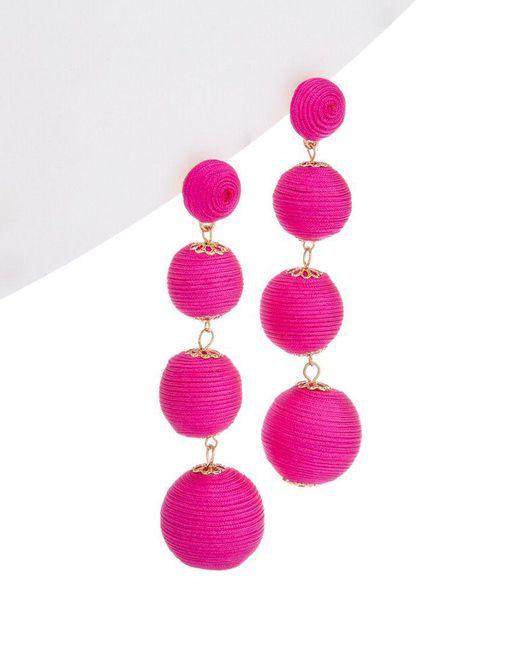 Kenneth Jay Lane - Pink Ball Drop Earrings - Lyst