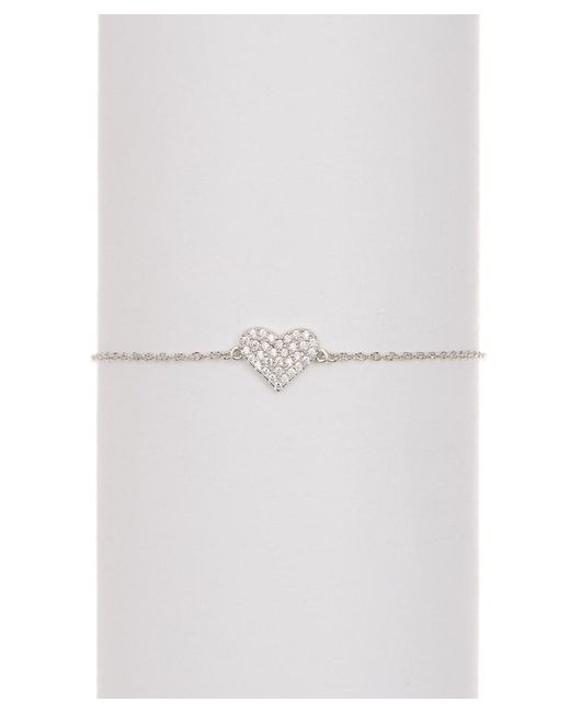 Adornia - Metallic Sterling Silver And Swarovski Crystal Heart Bracelet - Lyst