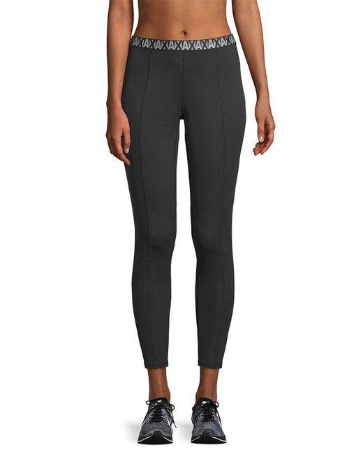 Armani Exchange - Black Pintuck Logo Legging - Lyst