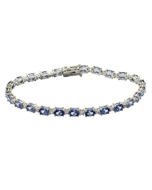 Suzy Levian - Metallic Sterling Silver Oval-cut Blue Sapphire Tennis Bracelet - Lyst