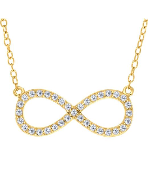 JewelryAffairs | White Infinity Sign Link And Cz Necklace In Yellow Color Finish Sterling Silver, 18 | Lyst