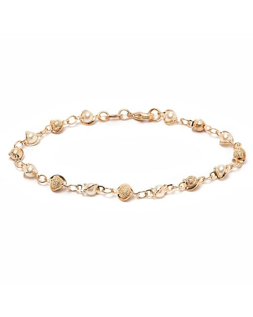 Peermont - Metallic Gold & Natural Shell Pearl Ball Link Bracelet - Lyst