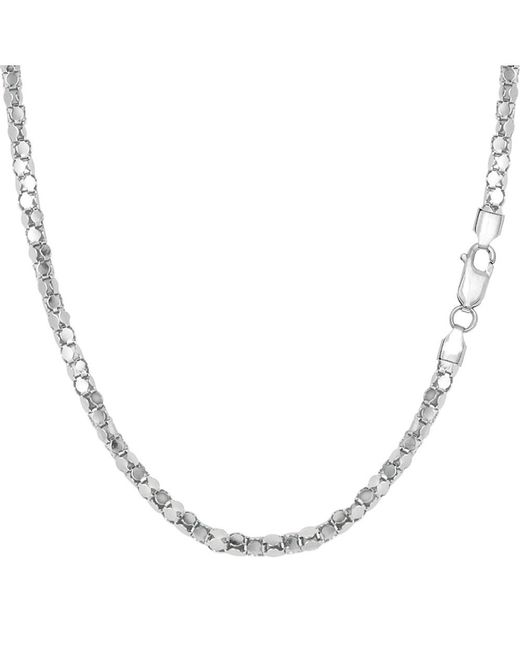 JewelryAffairs - White Sterling Silver Rhodium Plated Popcorn Rope Chain Necklace, 2.2mm, 18 - Lyst