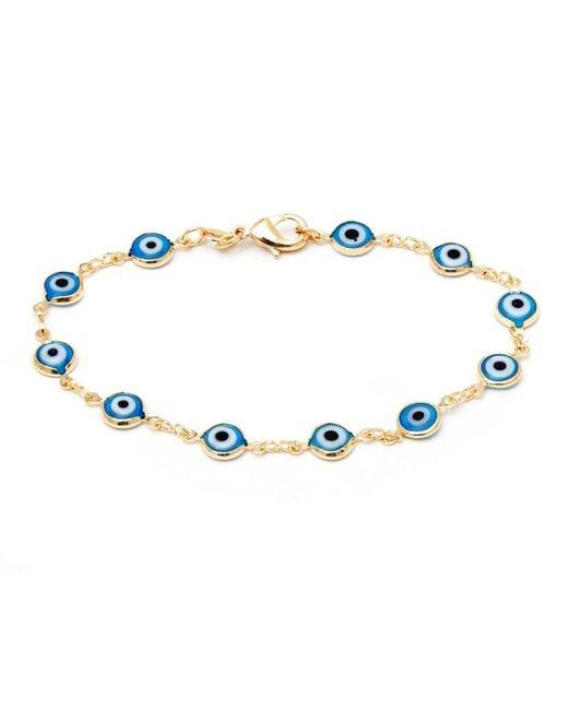 Peermont | Metallic Aqua Crystal & Gold Evil Eye Bracelet | Lyst