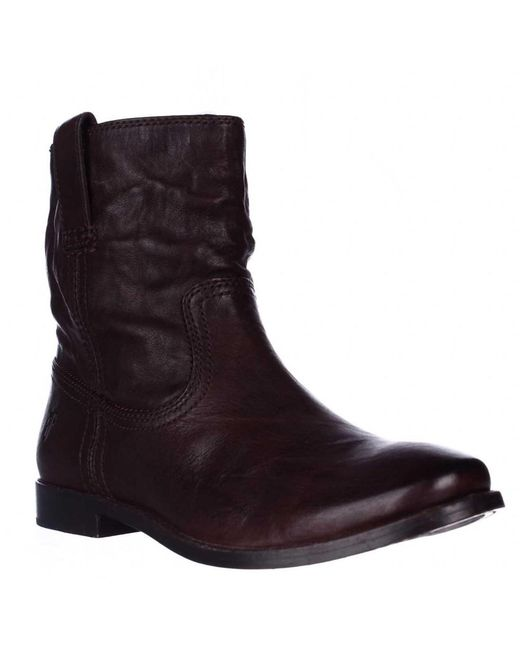 Frye | Anna Shortie Flat Boots - Dark Brown | Lyst