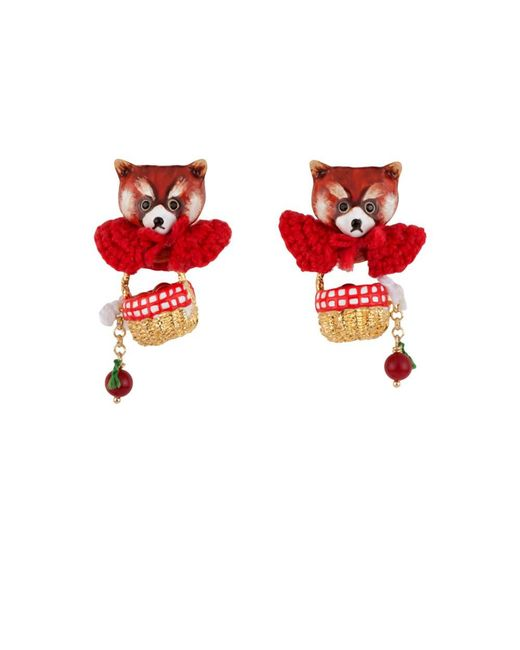 Les Nereides - Kind And Happy Leonie The Red Panda Wearing Her Red Cape And Her Hamper Earrings - Lyst