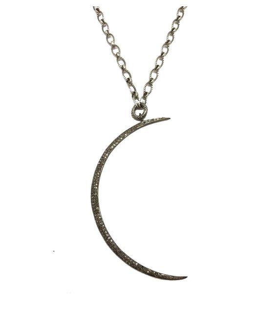 Blue Candy Jewelry | Metallic Pave Diamond Cresent Moon Pendant Necklace | Lyst
