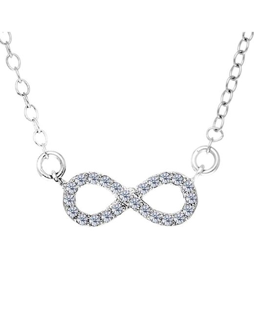 JewelryAffairs - White Infinity Sign Link And Cz Necklace In Sterling Silver, 18 - Lyst