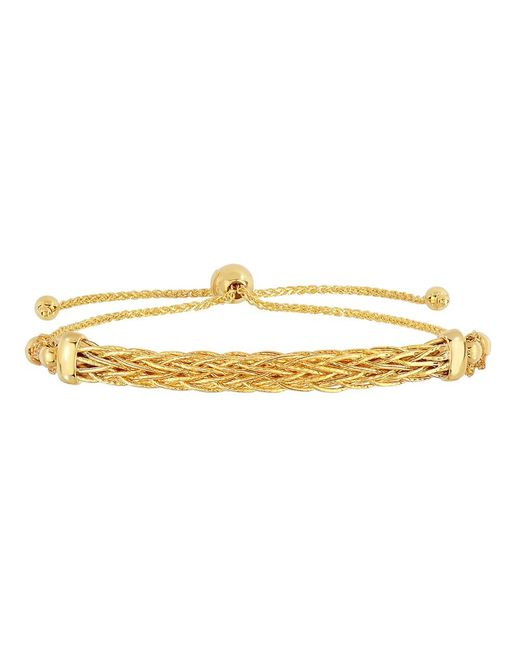 JewelryAffairs | 14k Yellow Gold Diamond Cut Round Wheat Bracelet With Arched Weave Center Element, 9.25 | Lyst