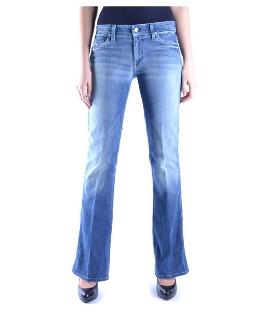 7 For All Mankind   Women's Blue Cotton Jeans   Lyst