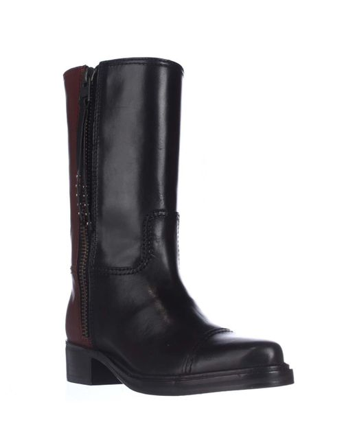 COACH - Short Western Mid-calf Two-tone Boots - Black/sienna - Lyst