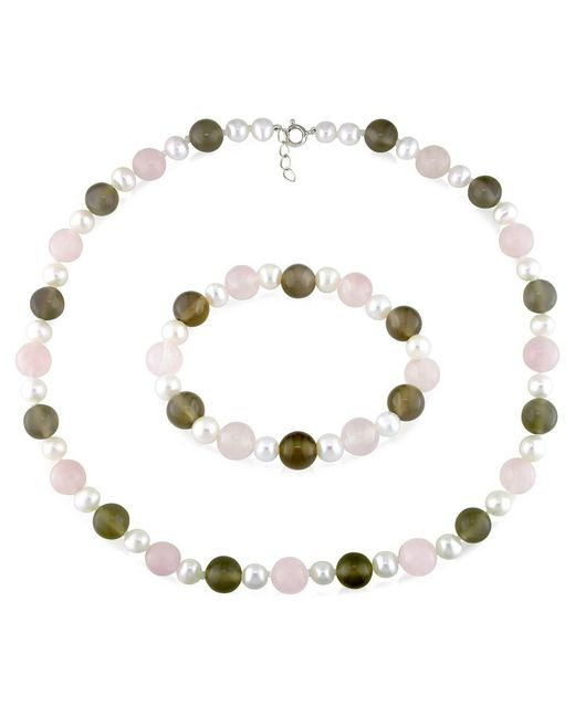 Catherine Malandrino - White Freshwater Cultured Pearl, And Gems Strand Stretch Bracelet 2-piece Set - Lyst