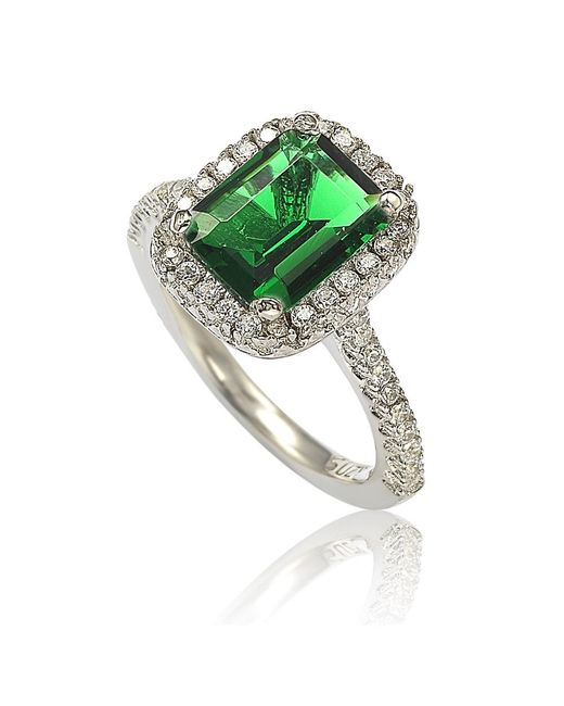 Suzy Levian | Sterling Silver Emerald-cut Green Cubic Zirconia Halo Ring | Lyst