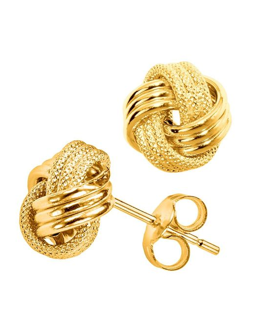 JewelryAffairs - White 14k Gold Shiny And Textured Triple Row Love Knot Stud Earrings, 10mm - Lyst