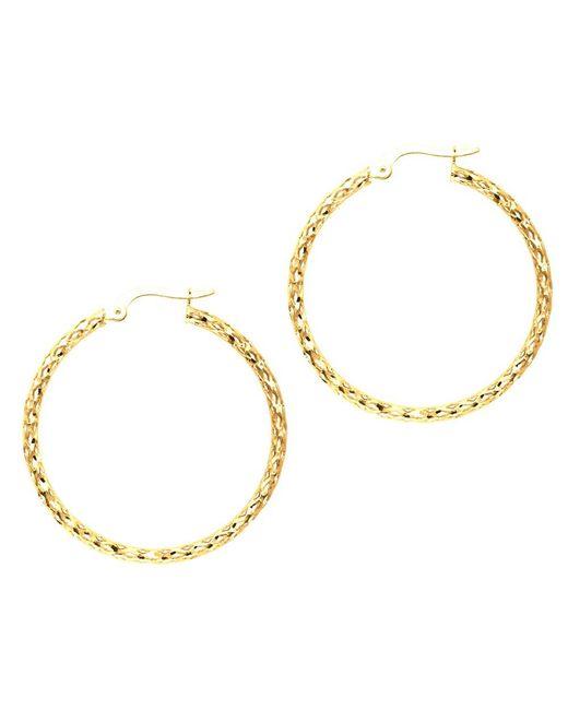 JewelryAffairs - 10k Yellow Gold Shiny Wavy Hoop Earrings, Diameter 30mm - Lyst