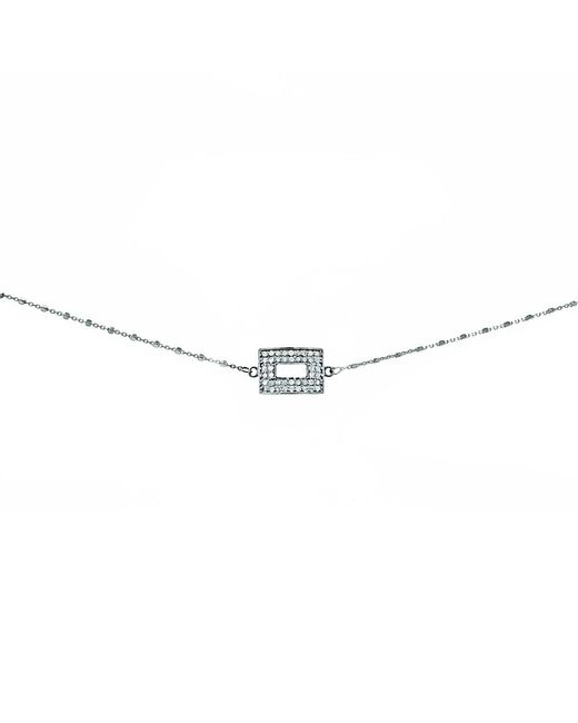 Adornia - Metallic Champagne Diamond And Sterling Silver Cutout Rectangle Choker Necklace - Lyst