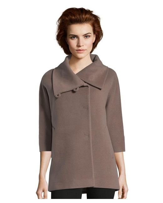 Cinzia Rocca | Brown Wool Cape Like Coat With Wide Sleeve | Lyst