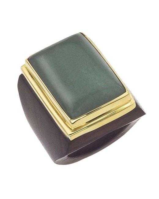 Jewelista   Green 18k Vermeil Aventurine Square Ring   Lyst