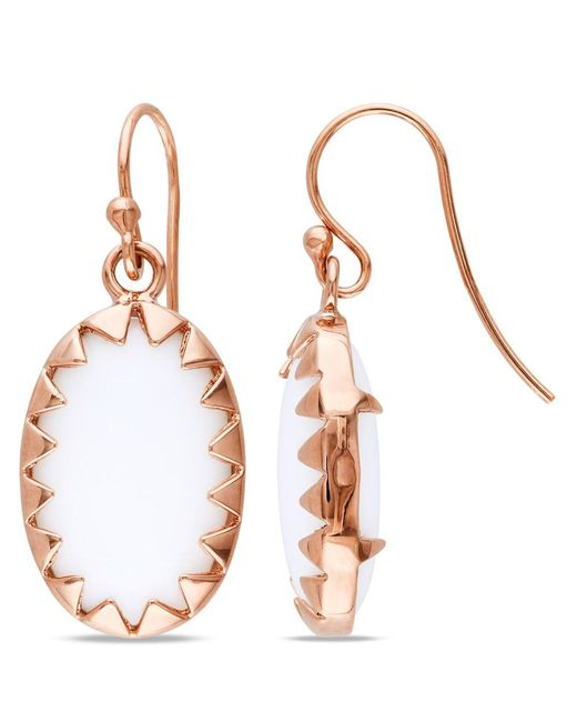 Catherine Malandrino - Pink Oval White Onyx Framed Earrings In Sterling Silver - Lyst