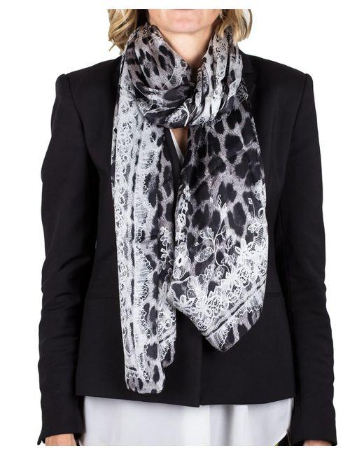 Roberto Cavalli | Black Women's Lace Floral Animal Print Silk Scarf Large | Lyst