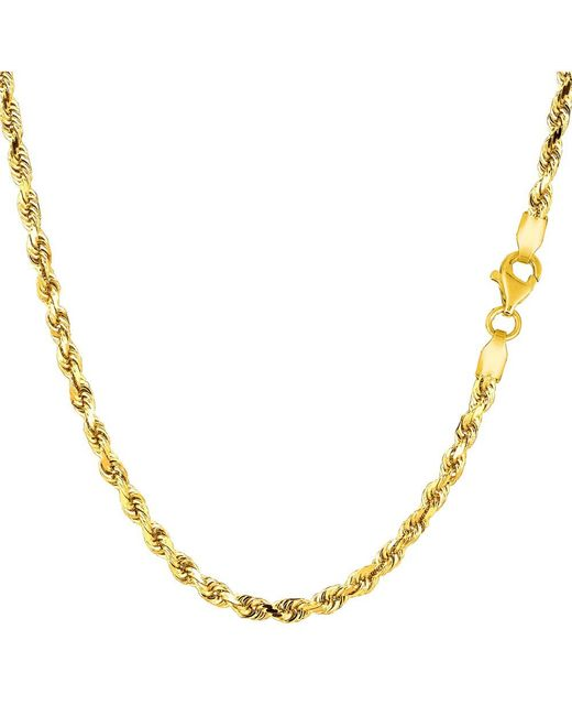 JewelryAffairs - 14k Yellow Gold Solid Diamond Cut Royal Rope Chain Necklace, 2.75mm, 22 Inch - Lyst