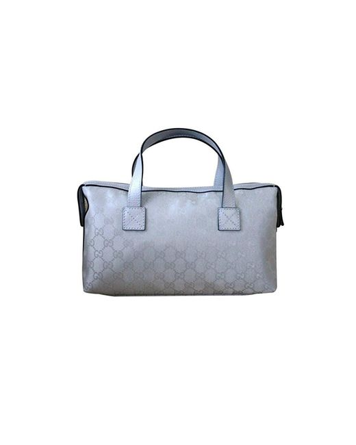 Gucci - Metallic Silver Gg Canvas Boston Bag Bowling Bag - Lyst