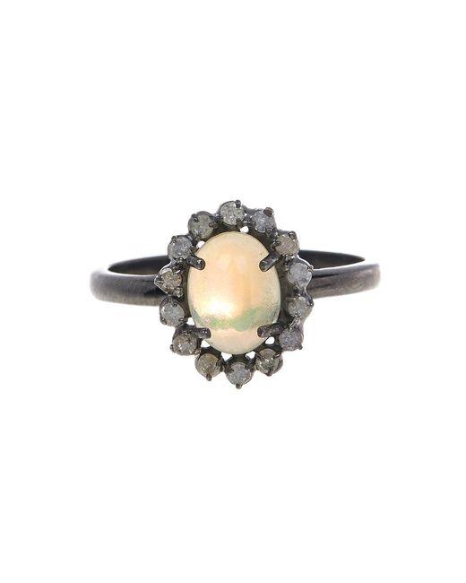 Adornia   Yellow Opal And White Diamond Genevieve Ring   Lyst