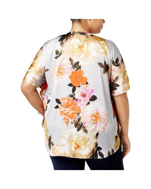60efab712bfa24 ... INC International Concepts - Gray Inc Womens Plus Satin Floral Print  Blouse - Lyst