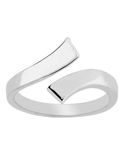 JewelryAffairs - White Sterling Silver Split Ends By Pass Style Adjustable Toe Ring - Lyst