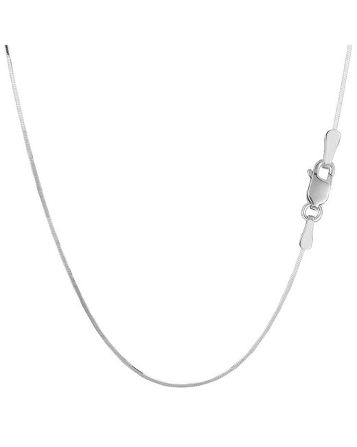 JewelryAffairs - White Sterling Silver Rhodium Plated Octagonal Snake Chain Necklace, 0.9mm, 24 Inch - Lyst