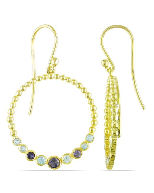 Catherine Malandrino   Yellow Blue Topaz And Iolite Circle Drop Earrings In Sterling Silver   Lyst