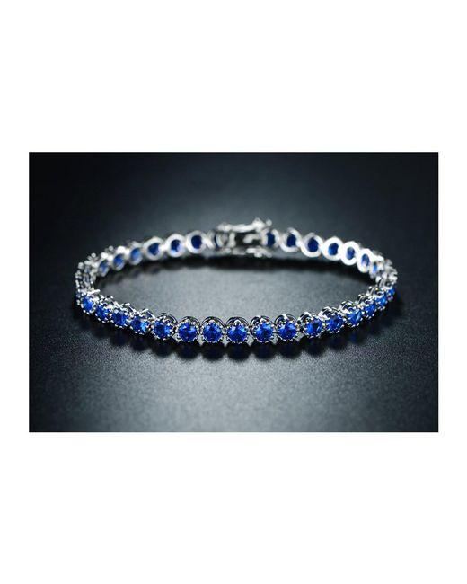 Peermont - Metallic 18k White Gold Plated Blue Spinel Crown Tennis Bracelet - Lyst