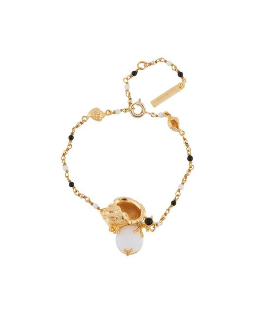 Les Nereides | Metallic Crystal Vein Golden Shell And Stone Beaded Bracelet | Lyst