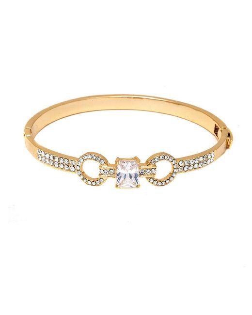 Peermont - Metallic Gold And Swarovski Elements Double Ring Bangle - Lyst