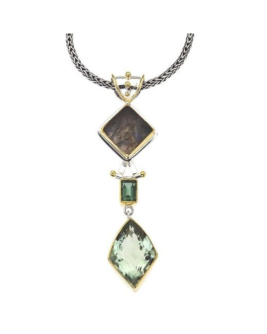 Jewelista | Silver Pendant With Green Amethyst, Gems | Lyst