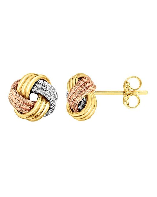 JewelryAffairs - Yellow 14k Tricolor Shiny And Textured Finish Love Knot Earrings - Lyst