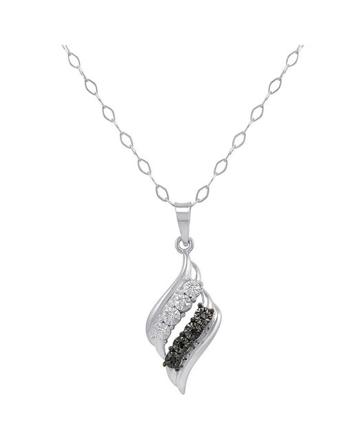 Amanda Rose Collection - Metallic Igi Certified Sterling Silver Black And White Diamond Swirl Pendant-necklace 18 In. - Lyst