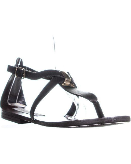 Steve Madden - Kween Flat Thong Sandals, Black Leather - Lyst