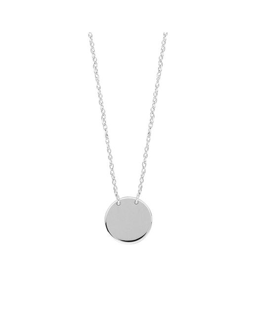 "JewelryAffairs - 14k White Gold Mini Engravable Disk Pendant Necklace, 16"" To 18"" Adjustable - Lyst"
