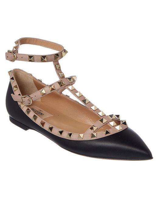 Valentino   Black Rockstud Ankle Strap Leather Ballerina Flat   Lyst