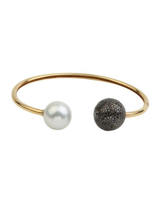 Socheec | Yellow Top Open Black Diamond Ball And Fresh Water Flexible Cuff | Lyst